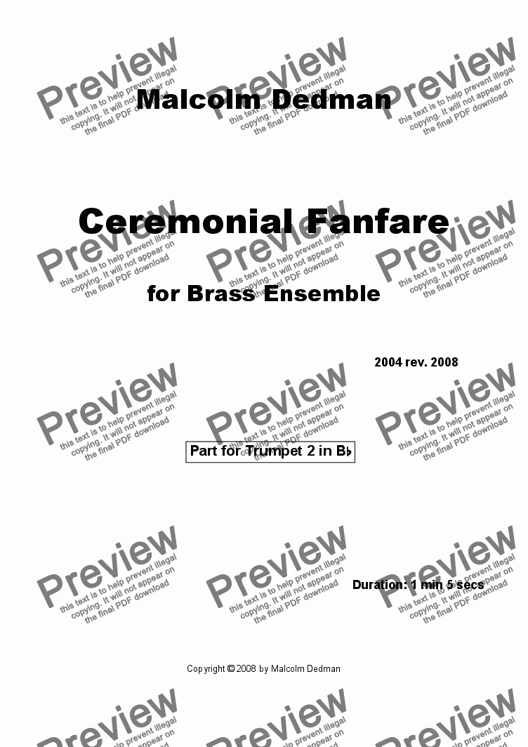 page one of the Trumpet 2 part from Ceremonial Fanfare
