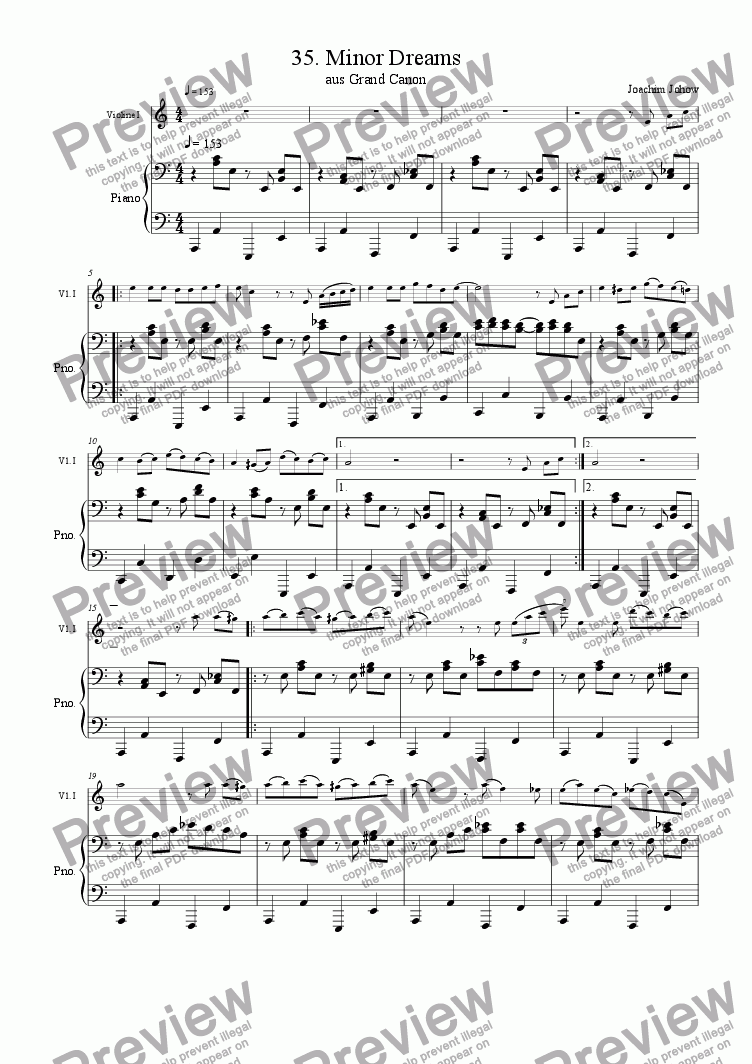 page one of the Piano part from Grand Canon 36 (Minor Dreams - 3 Violins )