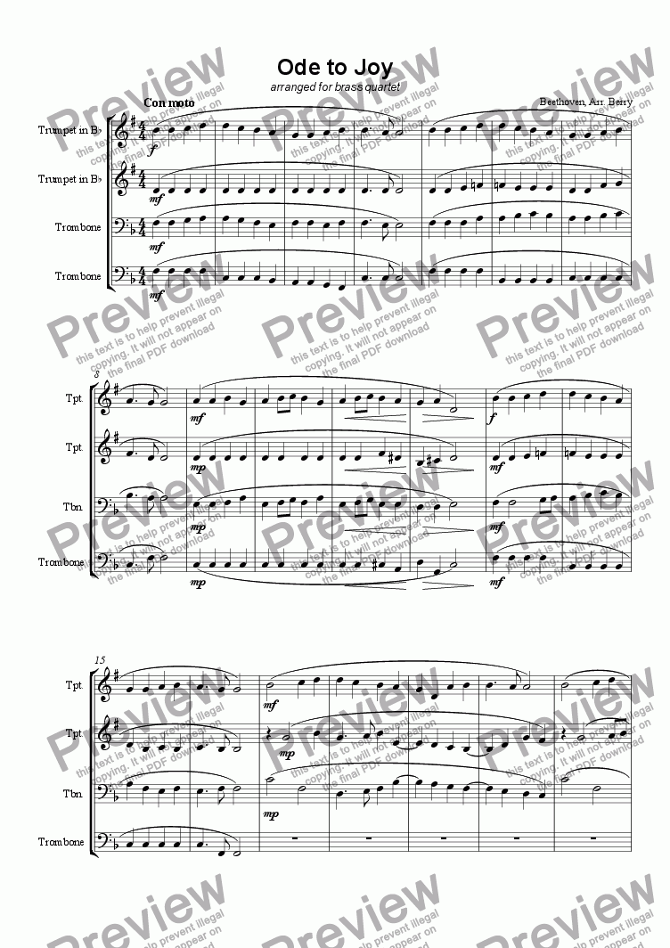 page one of the Trombone 1 part from Ode to Joy