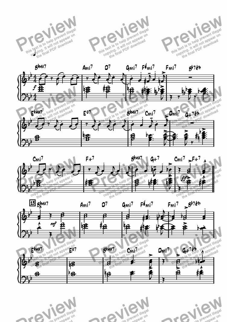 page one of the Piano part from Baylee's Blues