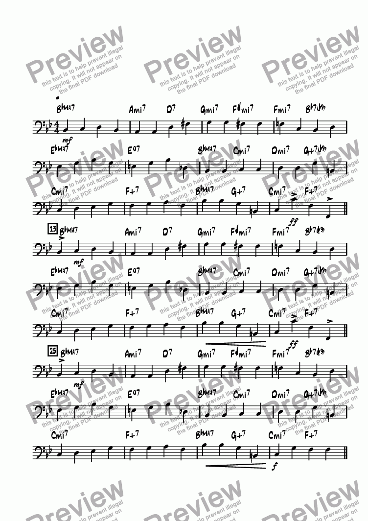 page one of the Bass part from Baylee's Blues