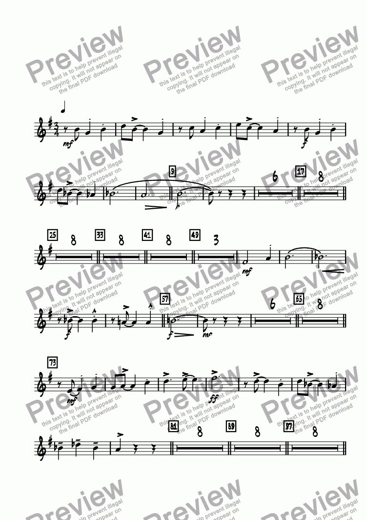 page one of the Trumpet 3 part from Bricktown Waltz