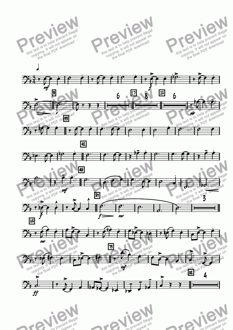 page one of the Bass Trombone 4 part from Bricktown Waltz