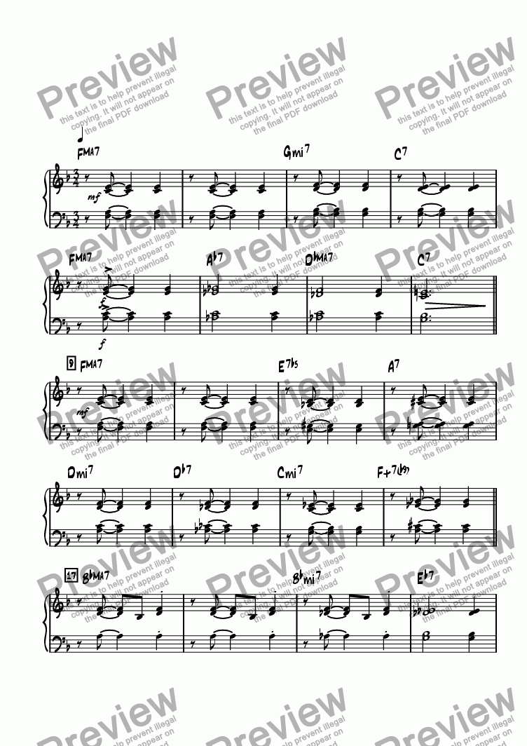 page one of the Piano part from Bricktown Waltz