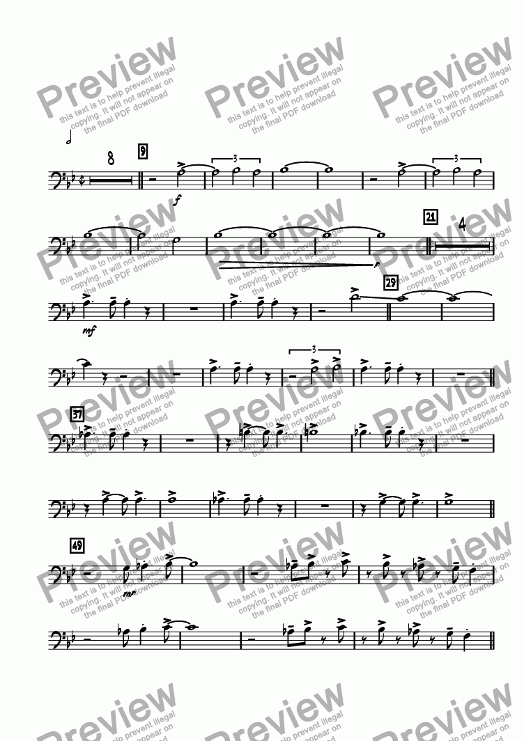page one of the Trombone 2 part from el Puente de las Americas