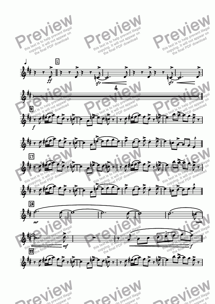 page one of the Bari. Sax. part from 620 North Main