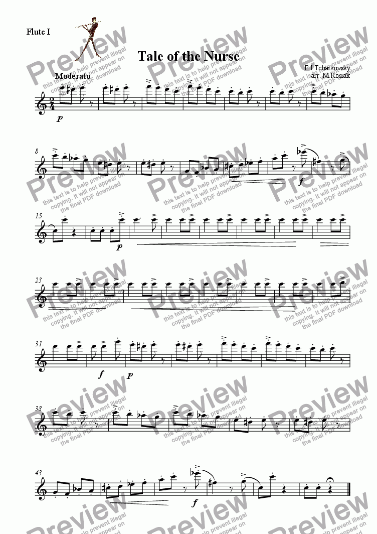 page one of the Flute I part from Tale of the Nurse