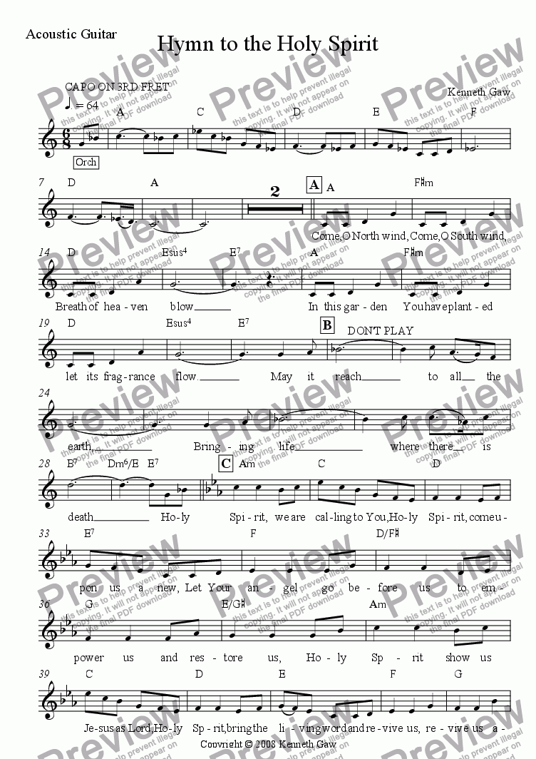 page one of the Guitar Chords part from Hymn to the Holy Spirit