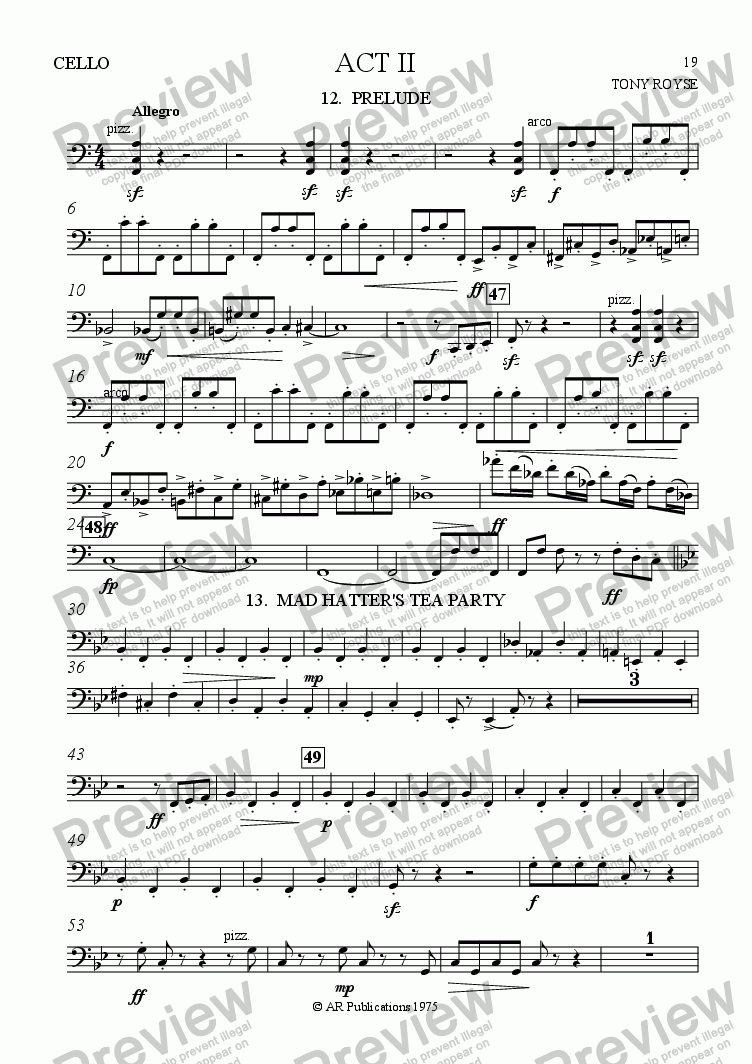 page one of the Cello part from Ballet: Alice In Wonderland  (Act 2 -  No. 12 & 13) Prelude & Tea Party