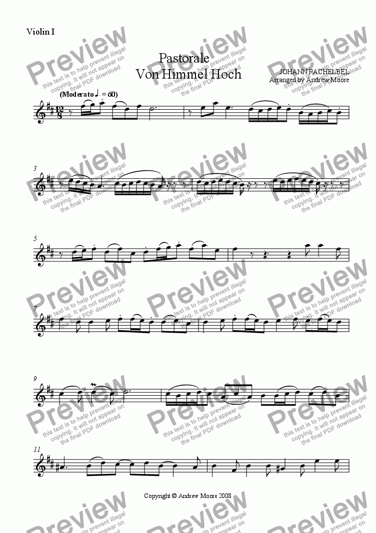 page one of the Violin 1 part from 'Pastorale - Von Himmel Hoch' for String Trio