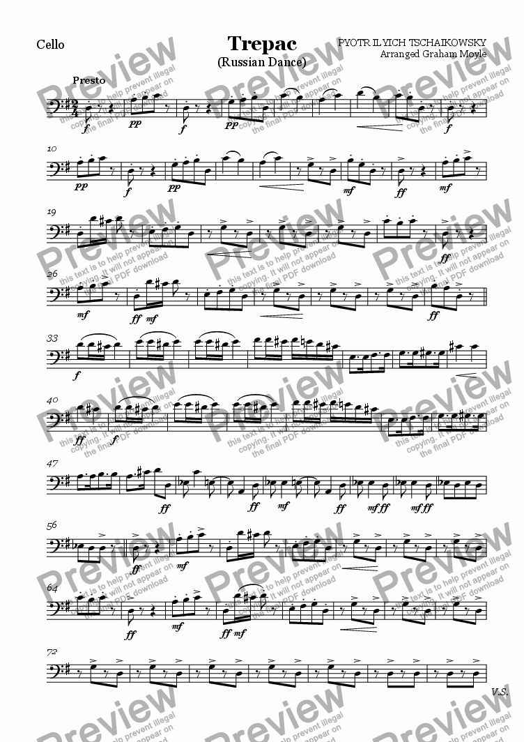 page one of the Cello part from Trepak