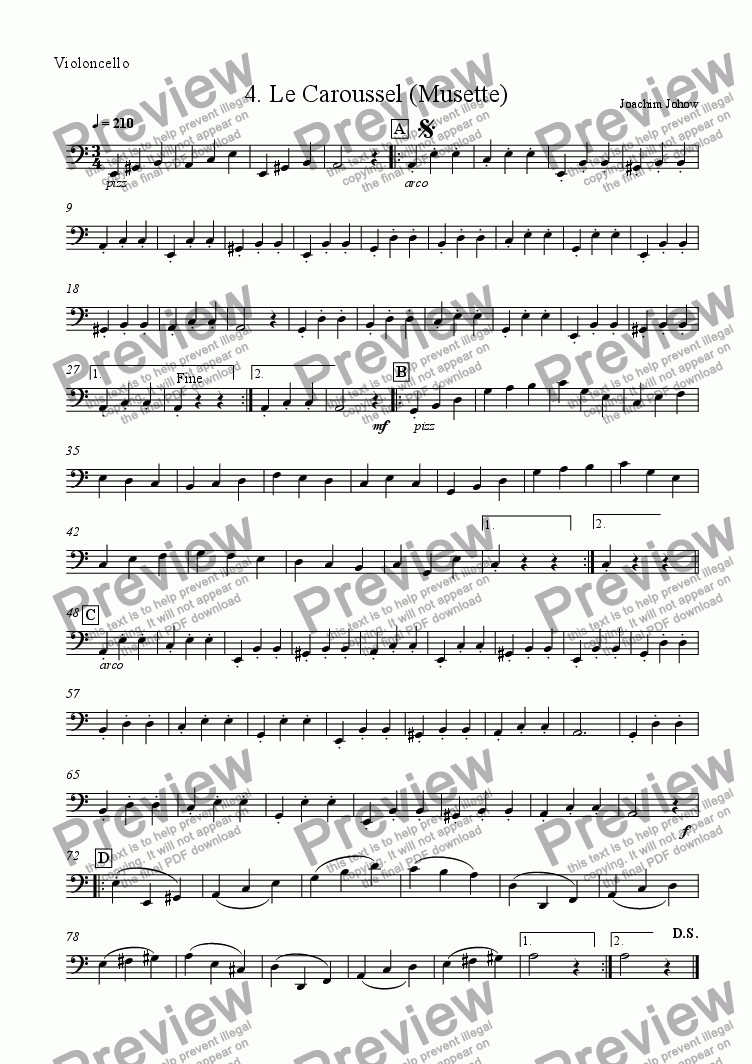 page one of the Vlc part from Orchester-Musette 04 (Le Caroussel -Strings and Piano)