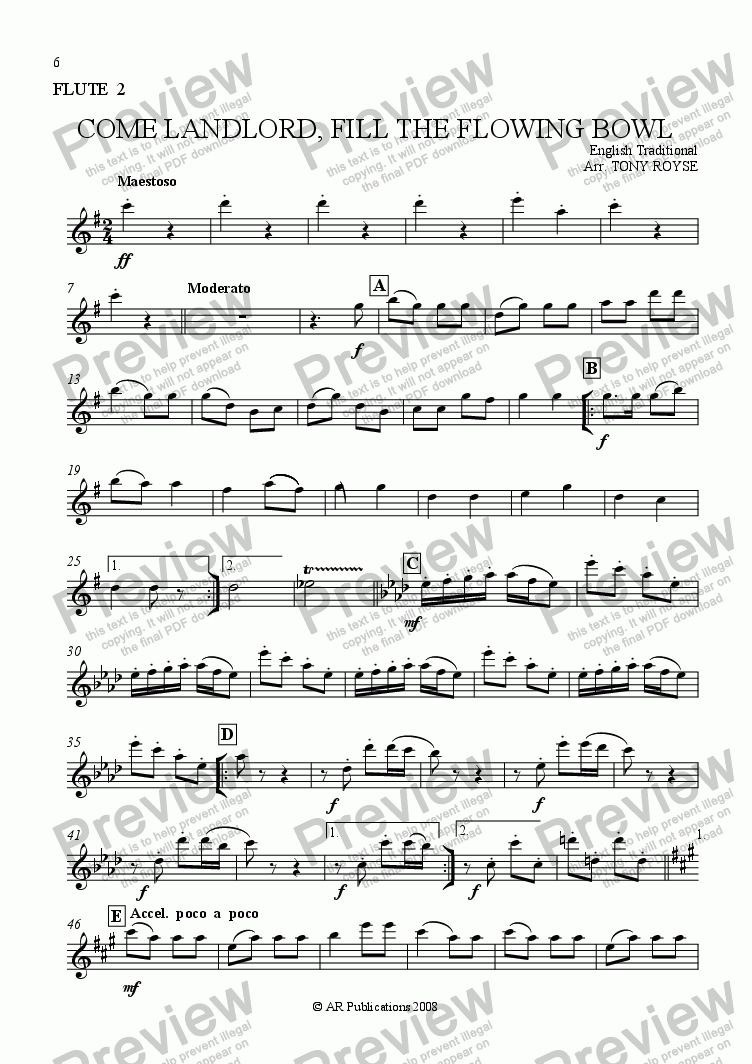 page one of the Flute 2 part from Come Landlord, Fill The Flowing Bowl for School Orchestra