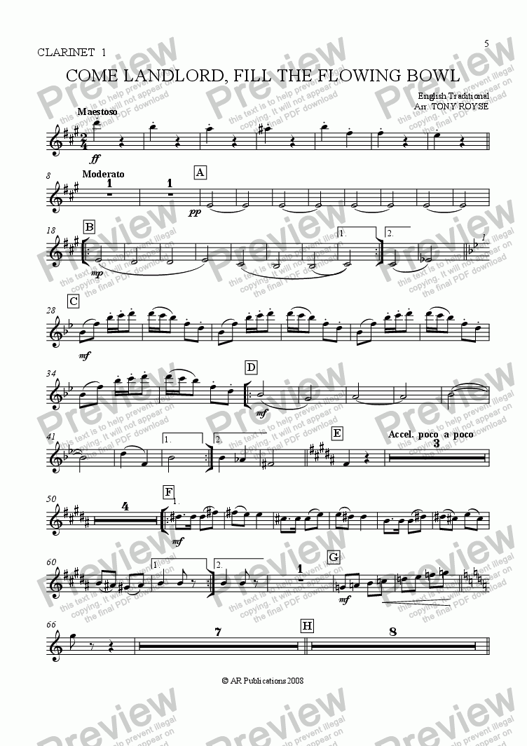 page one of the Clar. 1 part from Come Landlord, Fill The Flowing Bowl for School Orchestra