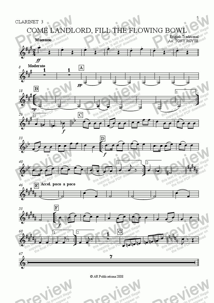 page one of the Clar. 3 part from Come Landlord, Fill The Flowing Bowl for School Orchestra