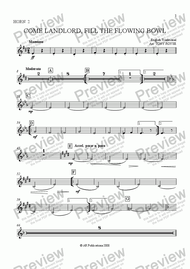 page one of the Horn 2 part from Come Landlord, Fill The Flowing Bowl for School Orchestra