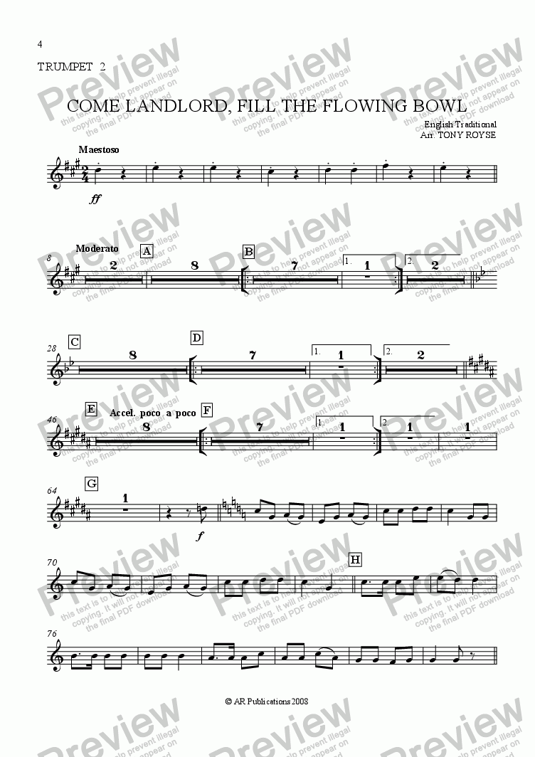 page one of the Trpt. 2 part from Come Landlord, Fill The Flowing Bowl for School Orchestra