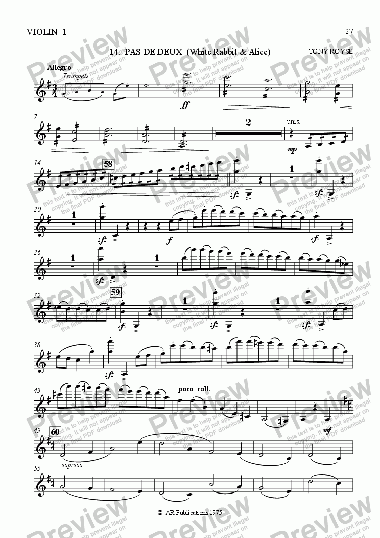 page one of the Vln. 1 part from Ballet: Alice In Wonderland  (Act 2 - No. 14) Pas de Deux