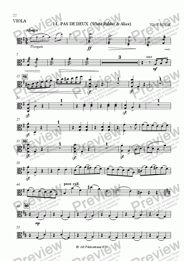 page one of the Viola part from Ballet: Alice In Wonderland  (Act 2 - No. 14) Pas de Deux