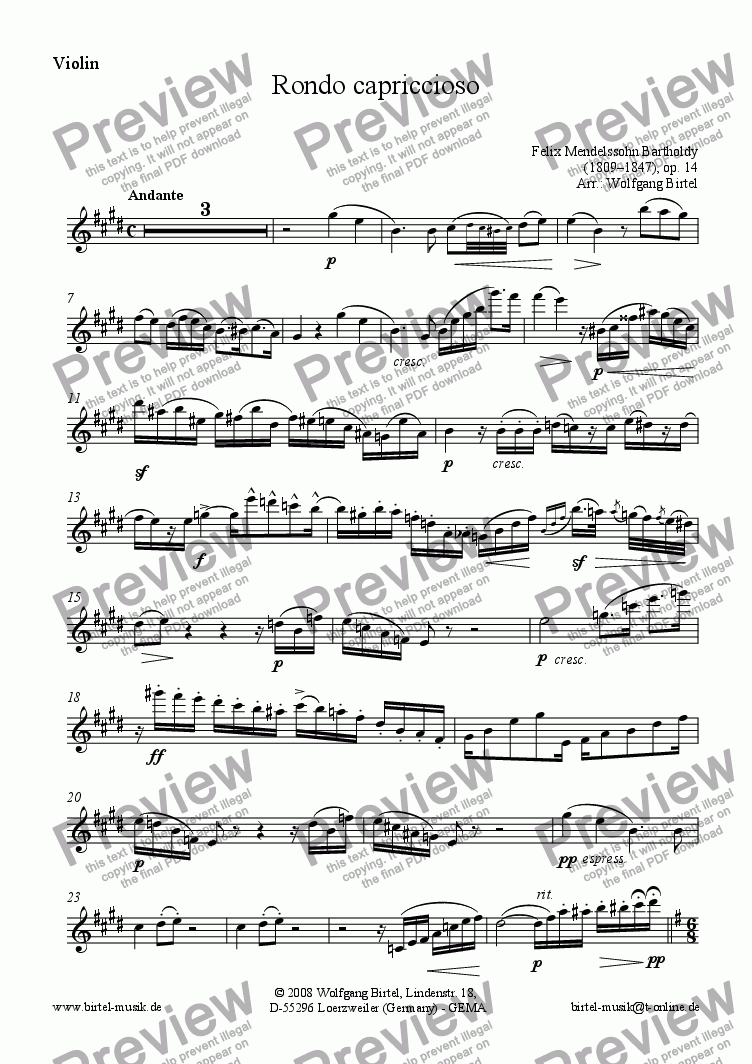 page one of the Violin part from Rondo capriccioso, op. 14 (Violin + Piano)