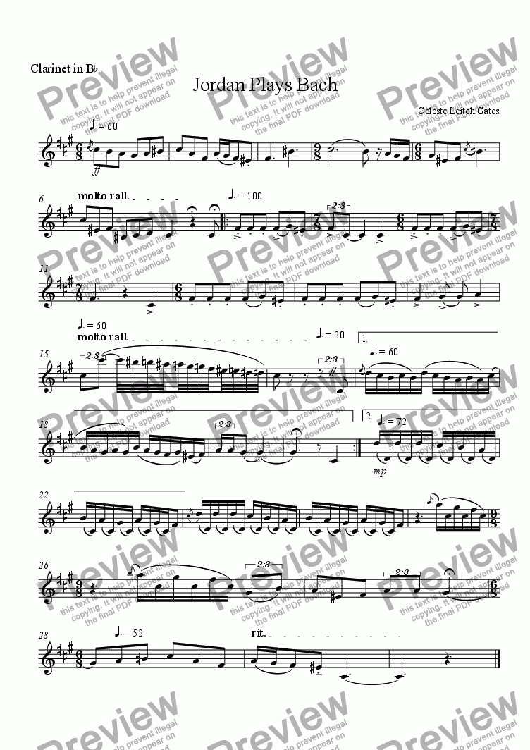 page one of the Clarinet part from Jordan Plays Bach (from Enchanted Moments) for Woodwind Quintet
