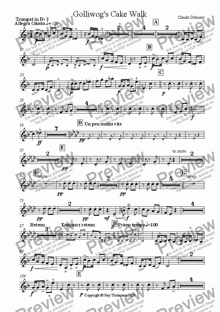page one of the tpt 3 part from Debussy: Children's Corner: VI.Golliwogg's Cake Walk (arr. brass choir (nonet)