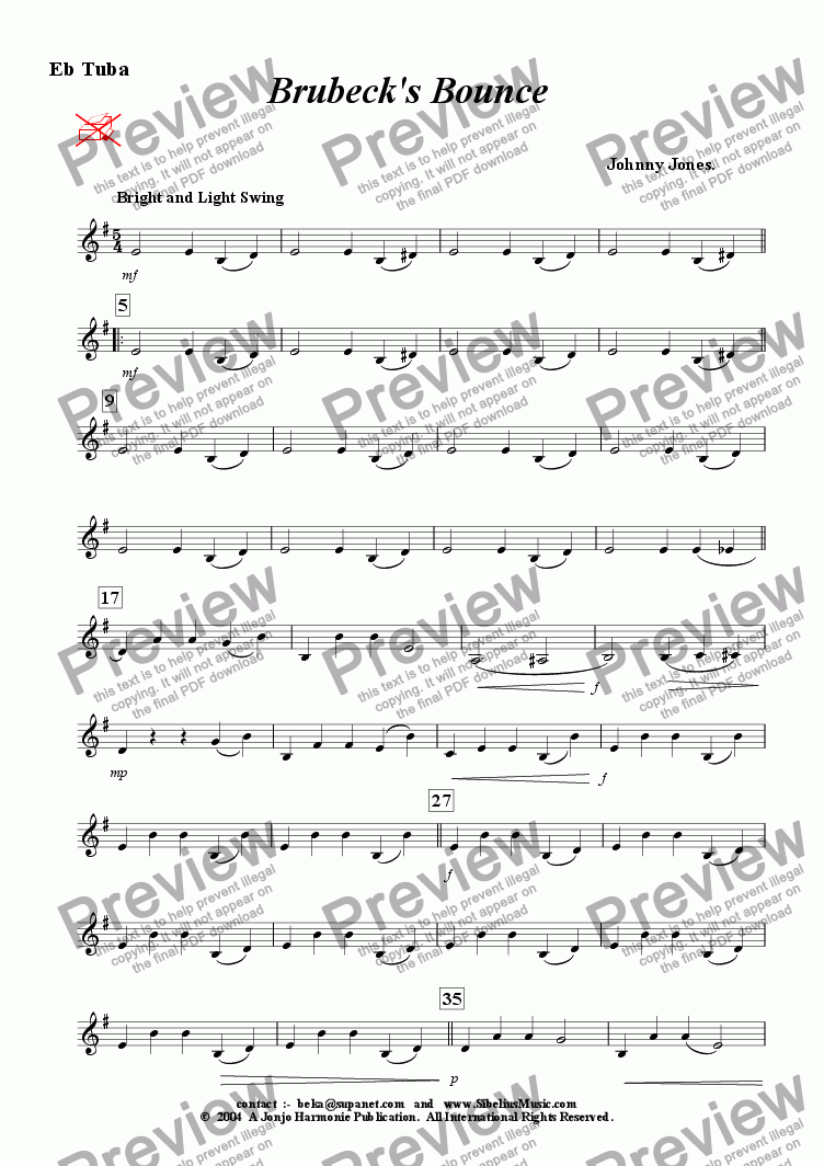 page one of the Eb Bass part from Brubeck's Bounce   (Swing  9 Brass)