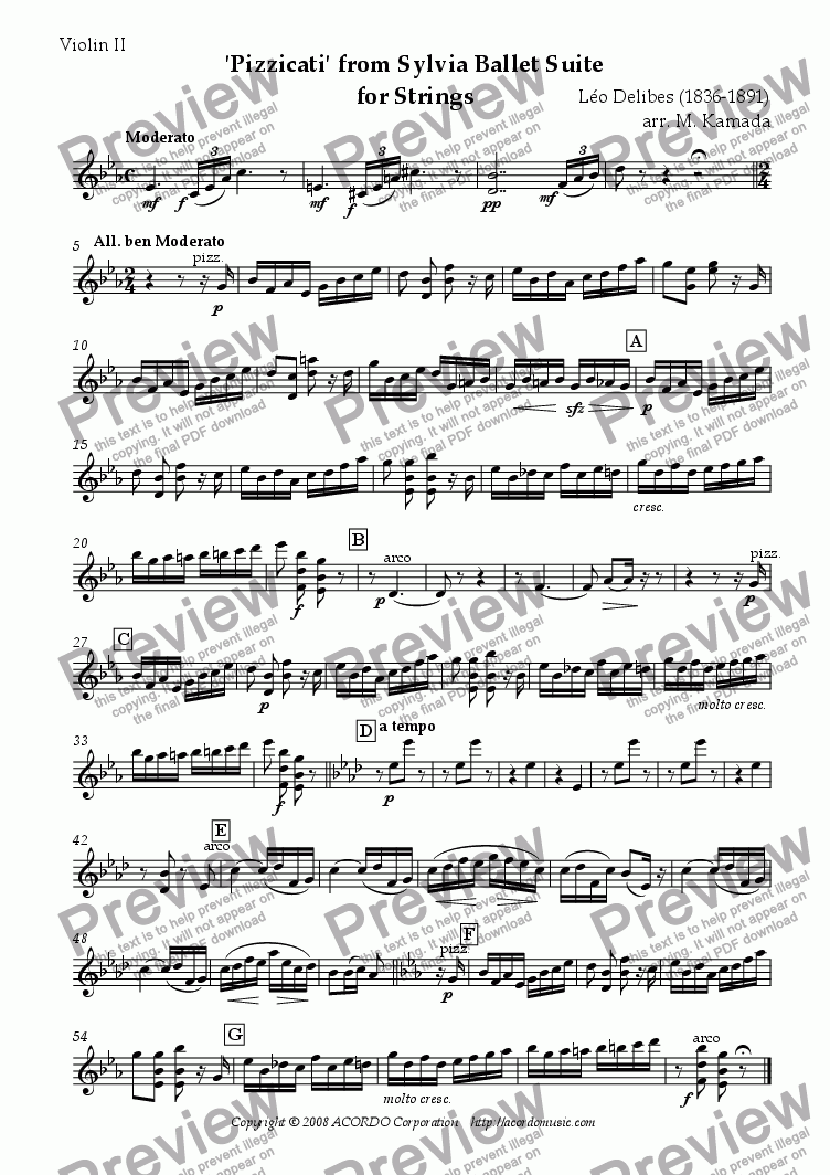 page one of the Violin II part from 'Pizzicati' from Sylvia Ballet Suite for Strings