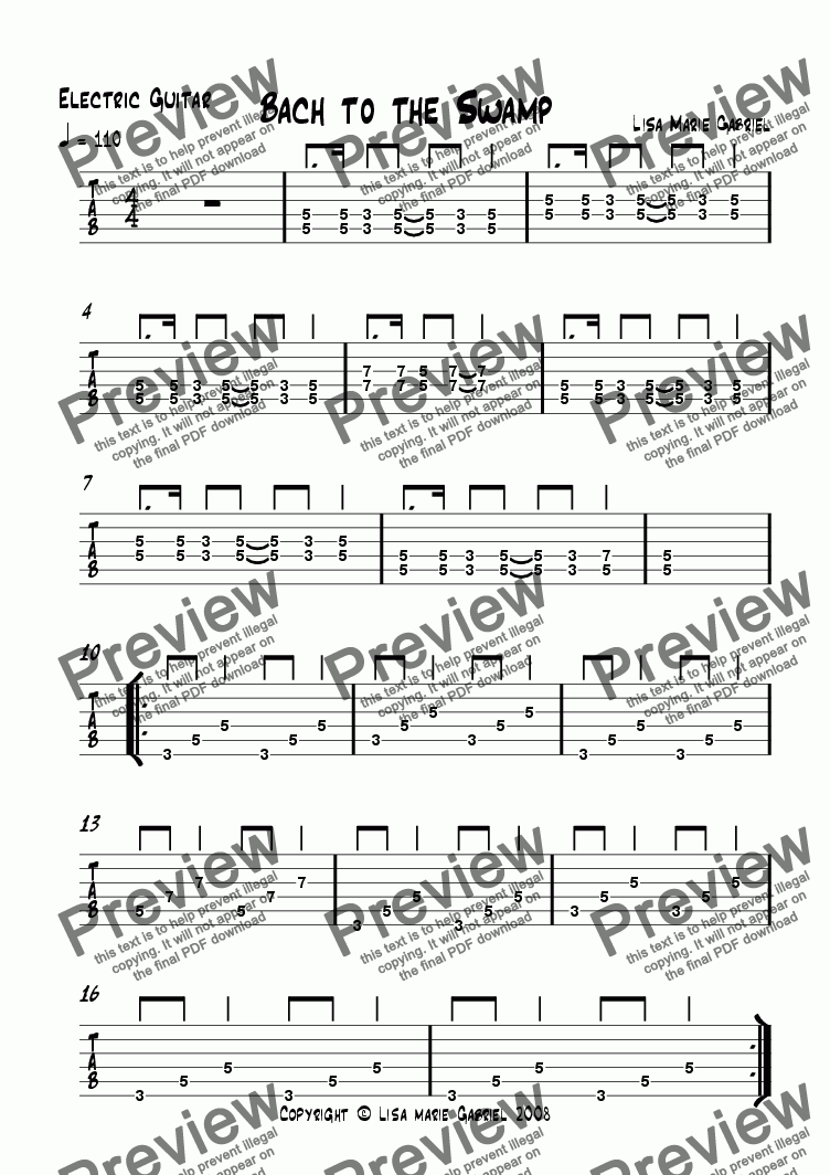 page one of the Electric Guitar TAB part from Bach to the Swamp