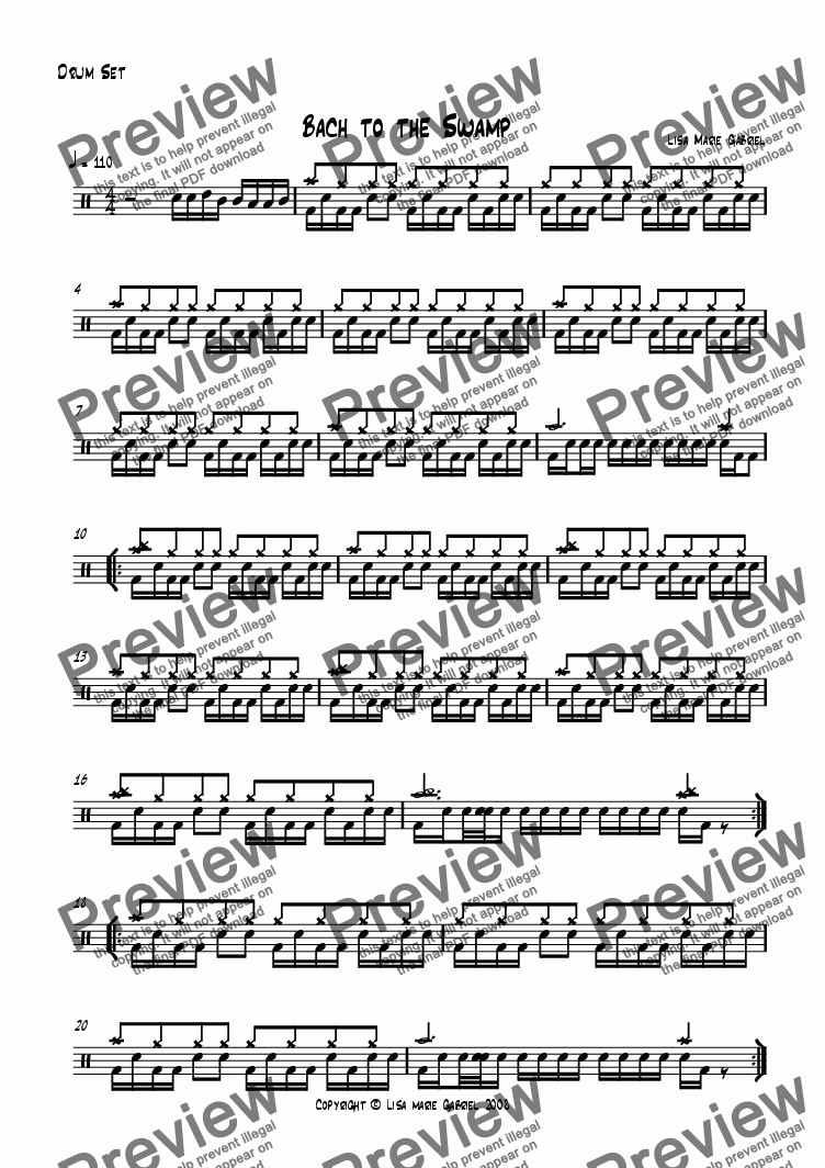 page one of the Drum Kit part from Bach to the Swamp