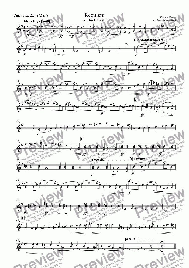 page one of the Repiano Tenor Saxophone part from Requiem for Double Saxophone Choir - I - Introit and Kyrie