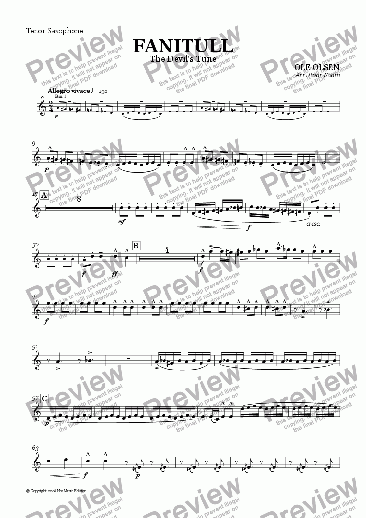 page one of the Bb Tenorsax part from Olsen: Fanitull/The Devil's Tune (Wind Band)