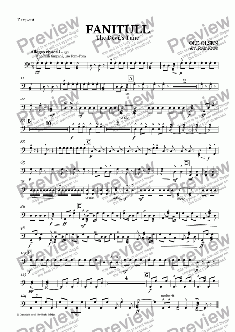 page one of the Timpani part from Olsen: Fanitull/The Devil's Tune (Wind Band)