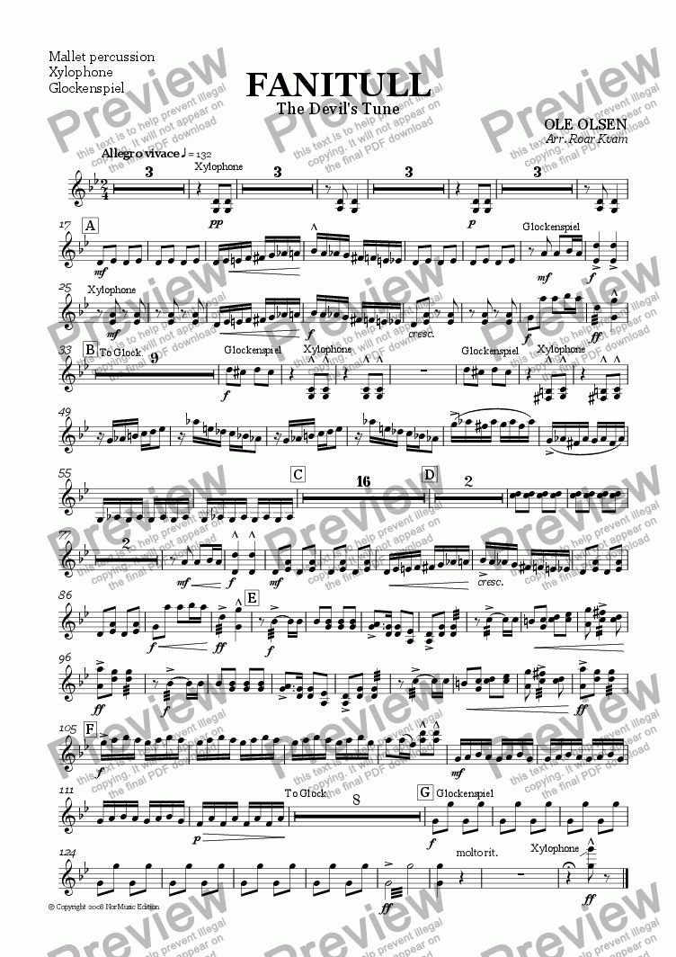 page one of the Mallet Percussion part from Olsen: Fanitull/The Devil's Tune (Wind Band)