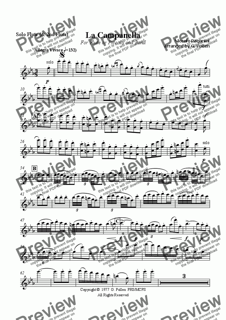 page one of the Flute part from La Campanella (CB)