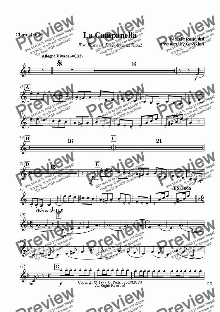page one of the Clarinet in Eflat part from La Campanella (CB)