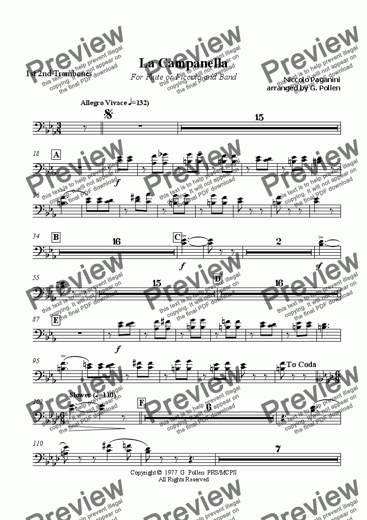 page one of the 1st 2nd Trombones part from La Campanella (CB)