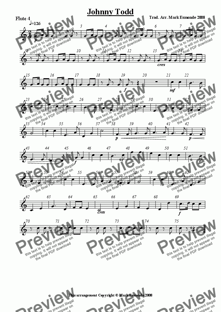 page one of the Flute 4 part from Johnny Todd Flute Choir/Quartet