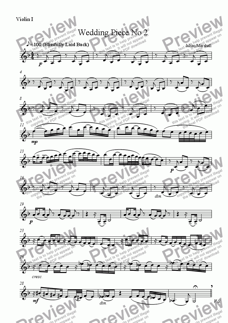 page one of the Violin 1 part from Weddding Piece No 2