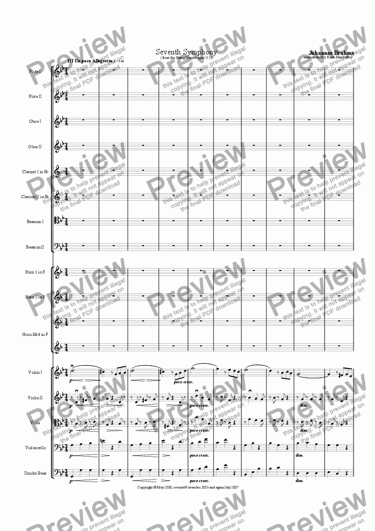 page one of the Flute 2 part from Brahms' Seventh Symphony III Un poco Allegretto
