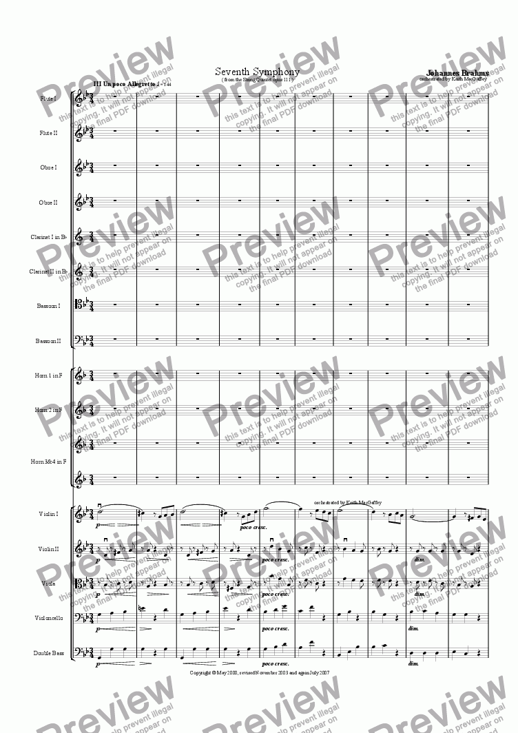 page one of the Violin 1 part from Brahms' Seventh Symphony III Un poco Allegretto