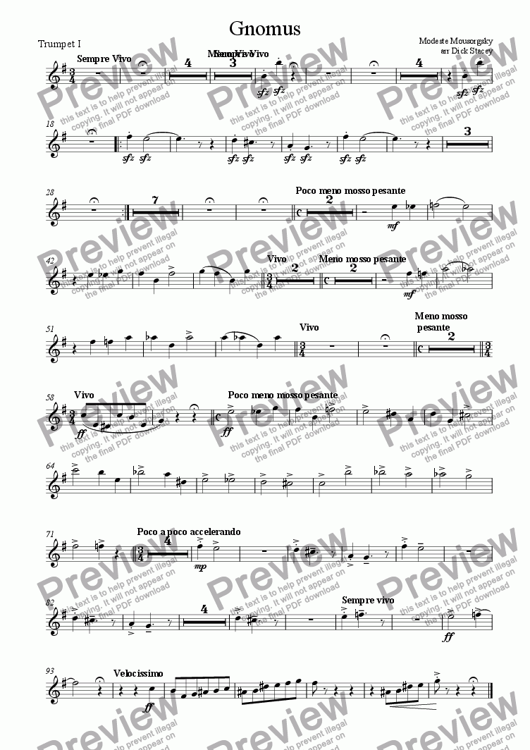 page one of the First Trumpet part from Gnomus