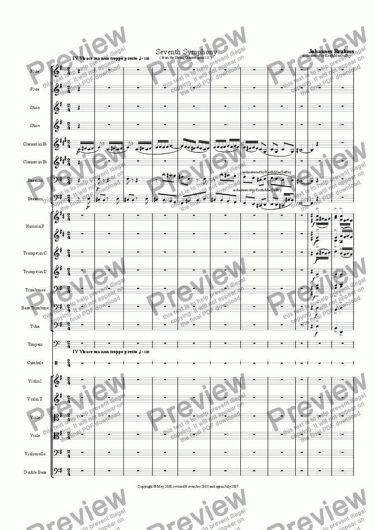 page one of the Bassoon 2 part from Brahms' Seventh Symphony IV Vivace