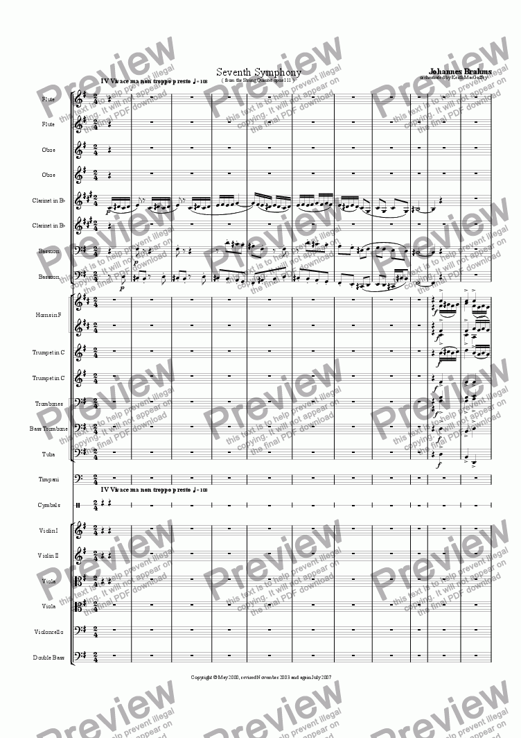 page one of the Violin 2 part from Brahms' Seventh Symphony IV Vivace