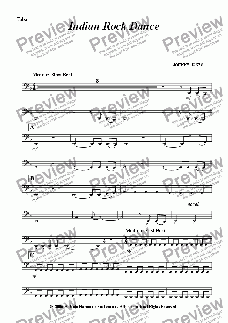 page one of the Tuba part from Indian Rock Dance    ( 6 + Brass and Drms )