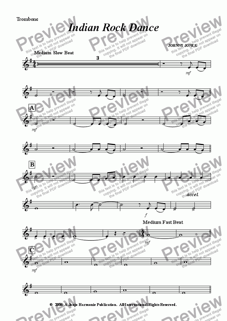 page one of the Trombone (Treble clef) part from Indian Rock Dance    ( 6 + Brass and Drms )