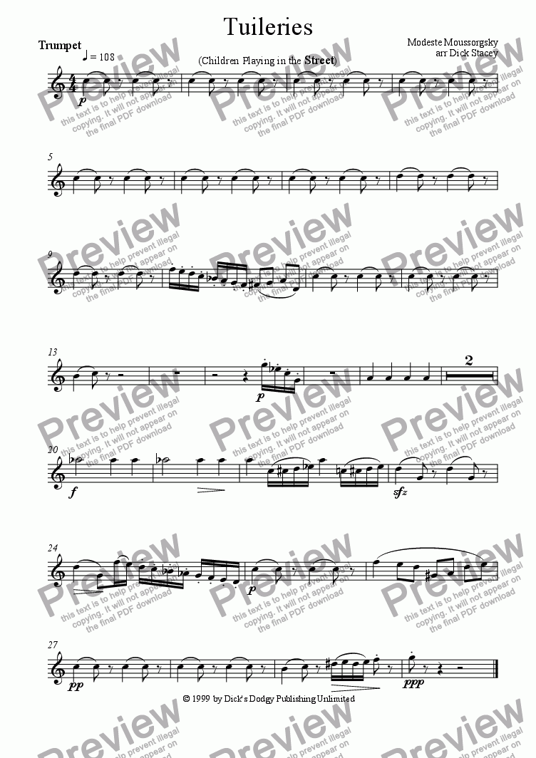 page one of the Trumpet part from Tuileries