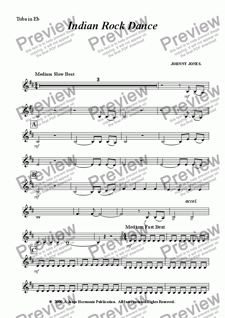 page one of the Tuba in Eb part from Indian Rock Dance    ( 6 + Brass and Drms )