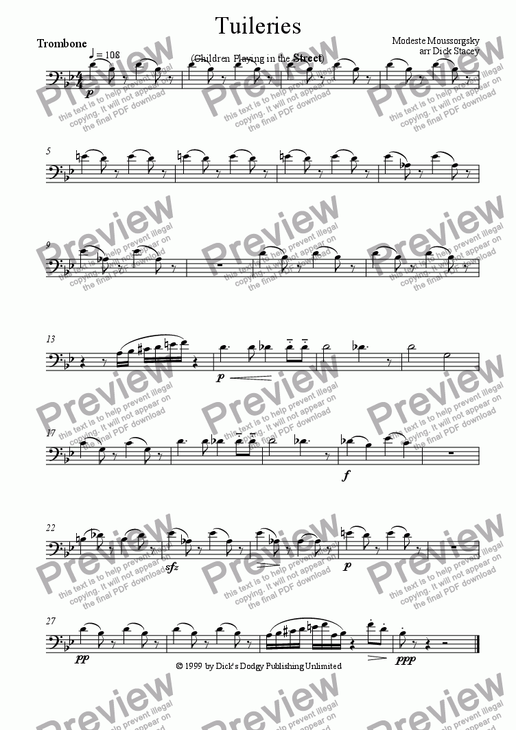 page one of the Trombone part from Tuileries