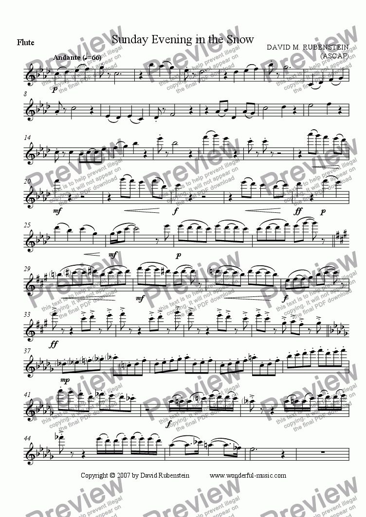 page one of the Flute part from Sunday Evening in the Snow (for flute, 3 clarinets and horn)